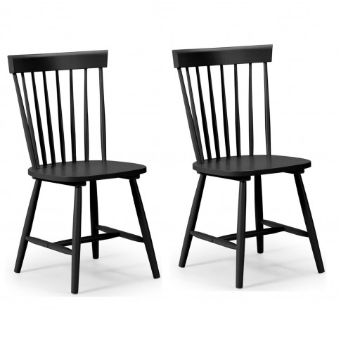 Julian Bowen Pair Of Black Dining Chairs With Spindl...