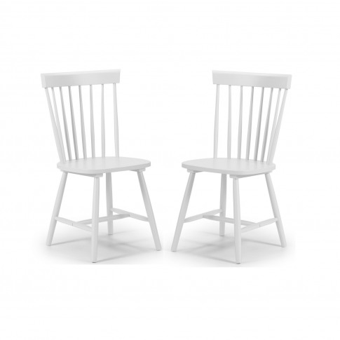 Julian Bowen Pair Of White Dining Chairs With Spindl...