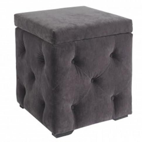 Lpd Valentina Charcoal Velvet Storage Box