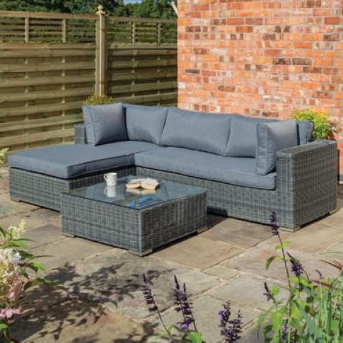 Rowlinson Rattan L Shaped Garden Lounger Set in Grey...