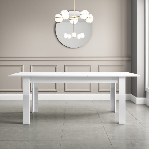 White Extendable Dining Table With High Gloss Finish...
