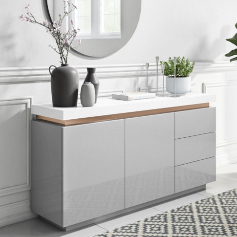 Grey & White Gloss Sideboard With Copper Inlay - Viv...