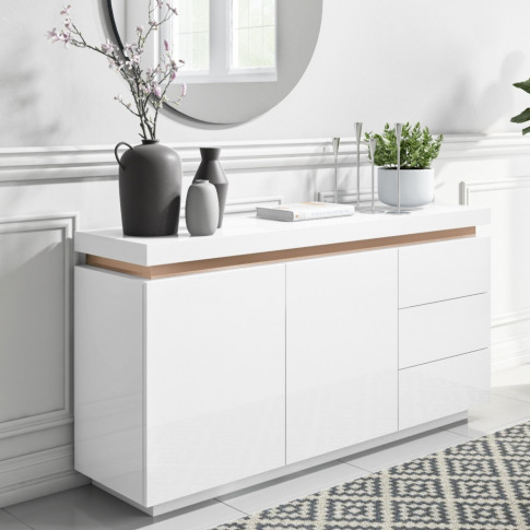 White Gloss Sideboard With Copper Inlay - Vivienne