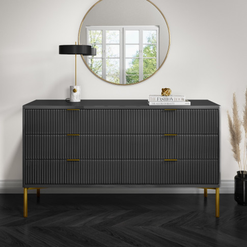Valencia Anthracite Grey High Goss Wide 6 Drawer Che...