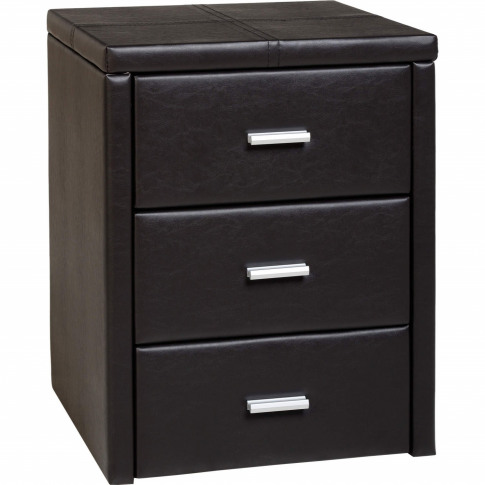 Seconique Prado Brown Faux Leather 3 Drawer Bedside ...
