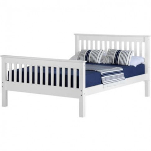 Seconique Monaco Double Bed Frame In White With High...