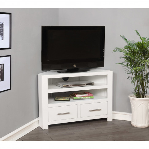 White Corner Tv Unit In Solid Wood - Tv Up To 36 - W...