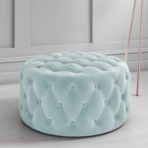 Xena Large Quilted Button Pouffe In Light Duck Egg B...