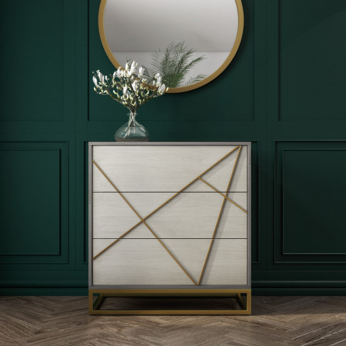Zhara 3 Drawer Chest Of Drawers In Grey With Gold Pa...