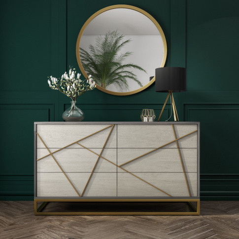 Zhara 6 Drawer Chest Of Drawers In Grey With Gold Pa...