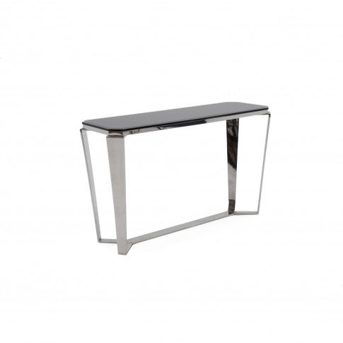 Zola Black Glass Console Table With Metal Frame