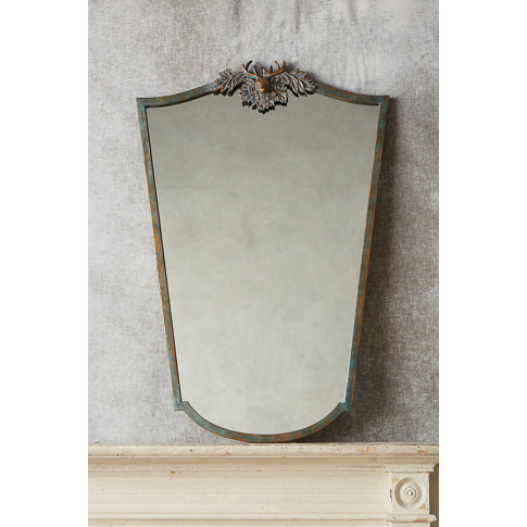 Deer Wooded Manor Mirror - Green, Size S