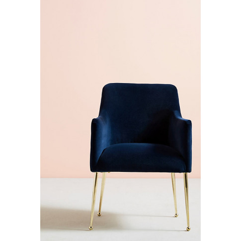 Elowen Dining Chair With Arm Rest - Blue