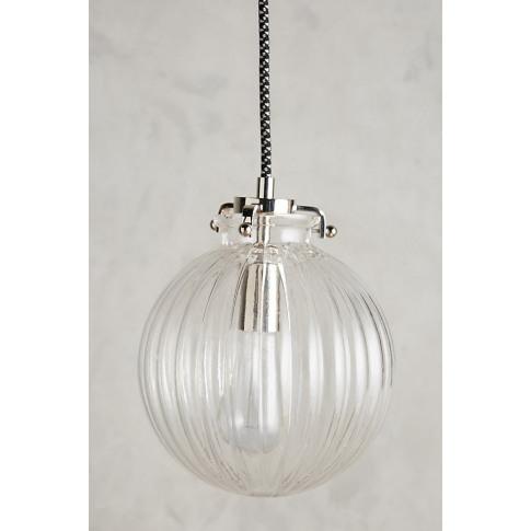 Fluted Glass Globe Pendant - Grey