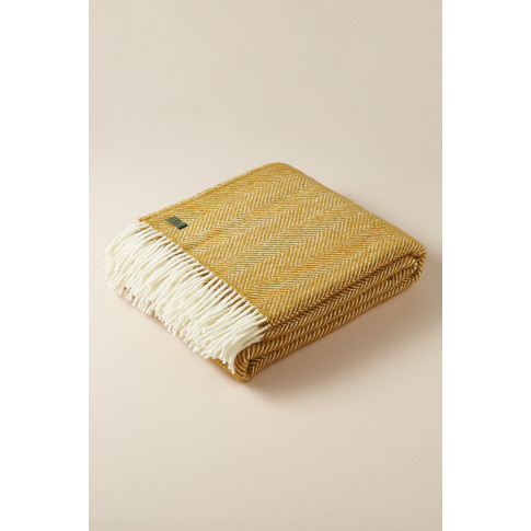 Fringed-Herringbone Throw - Yellow