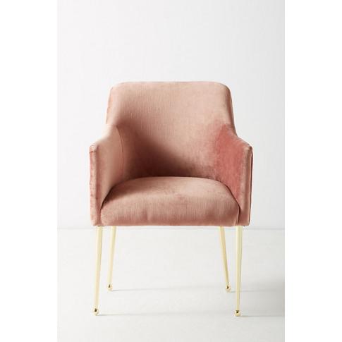 Slub Velvet Elowen Armchair - Pink