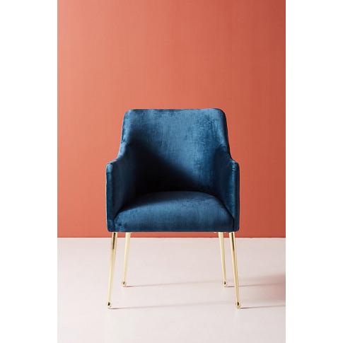 Slub Velvet Elowen Armchair - Blue