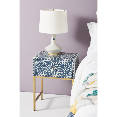 Scroll Vine Bedside Table - Blue