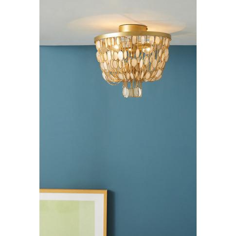 Oval Capiz Ceiling Light - Gold