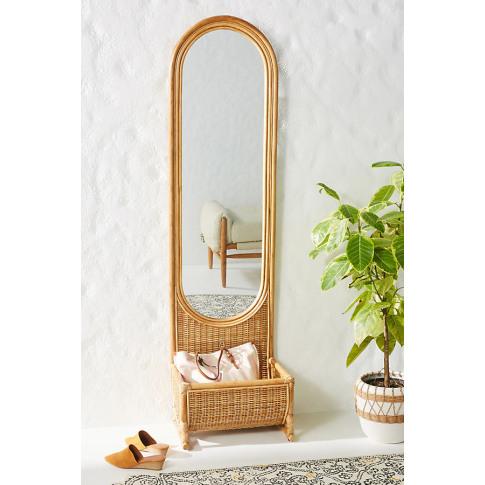 Hazel Rattan Floor Mirror - Beige, Size L