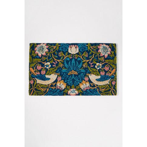 V & A Strawberry Thief-Print Doormat - Green
