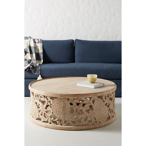 Handcarved Lotus Coffee Table - Beige, Size L