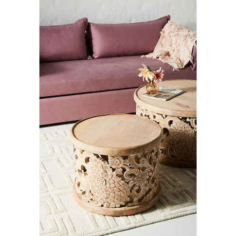 Handcarved Lotus Side Table - Beige
