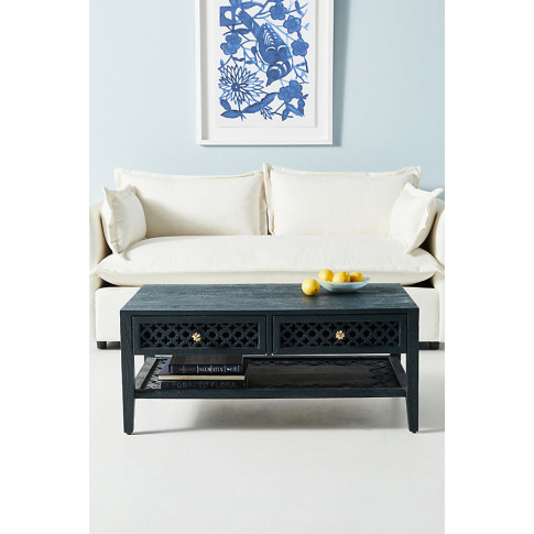 Jali-Carved Coffee Table - Indigo