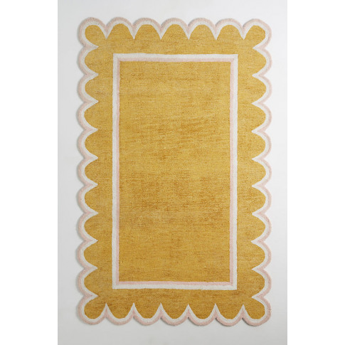 Hand-Tufted Scallop Rug - Yellow, Size 9x12