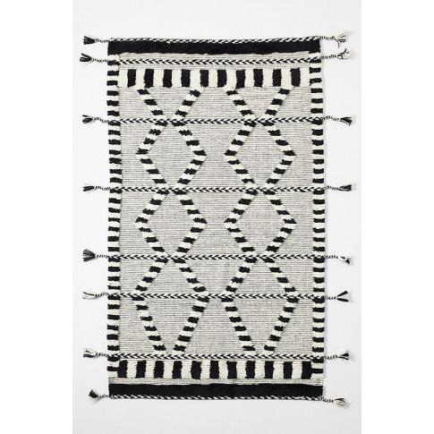 Criss-Cross Flat-Woven Rug - Black, Size 5x8