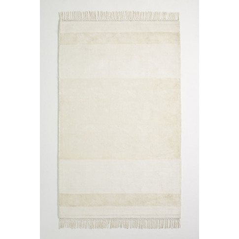 Handloomed Striped Viscose Rug - White, Size 5x8