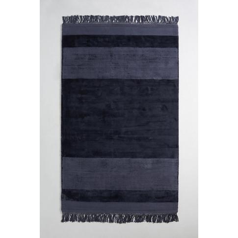 Handloomed Striped Viscose Rug - Blue, Size 5x8