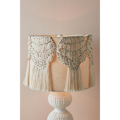 Macrame Lamp Shade - White, Size M