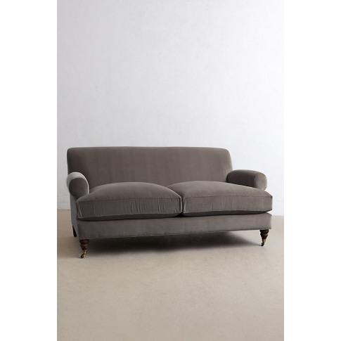 Velvet Willoughby Sofa, Hickory Legs - Grey