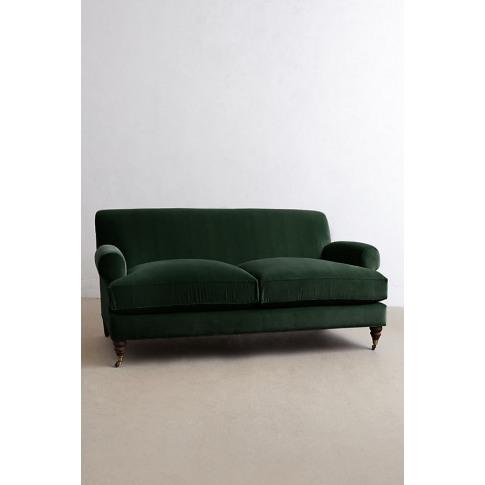 Velvet Willoughby Sofa, Hickory Legs - Green