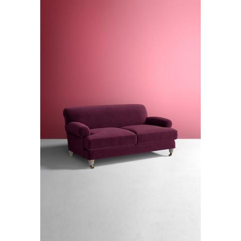 Velvet Willoughby Sofa, Hickory Legs - Purple