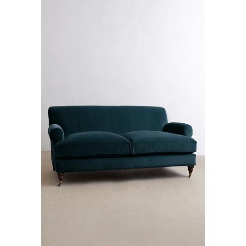 Velvet Willoughby Sofa, Hickory Legs - Blue