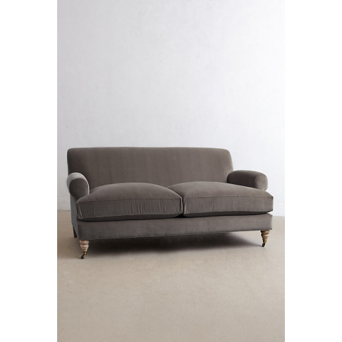 Velvet Willoughby Sofa, Wilcox Legs - Grey