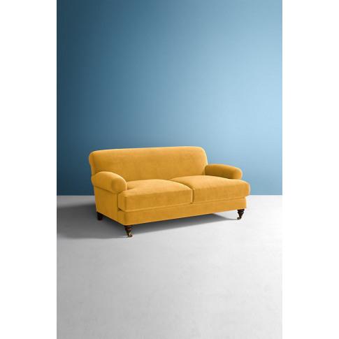 Velvet Willoughby Sofa, Wilcox Legs - Gold
