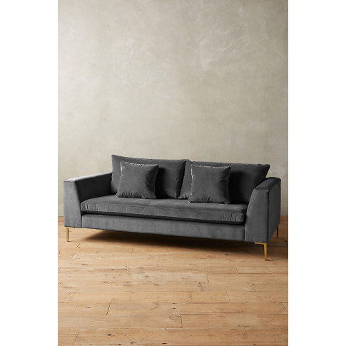 Velvet Edlyn Sofa - Grey
