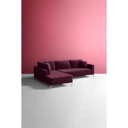 Velvet Edlyn Left Corner Sofa - Purple