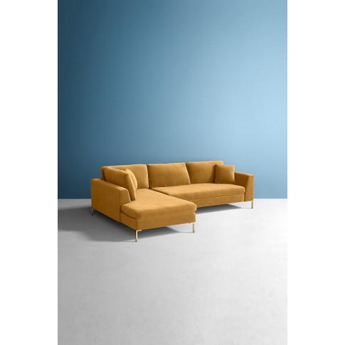 Velvet Edlyn Left Corner Sofa - Gold