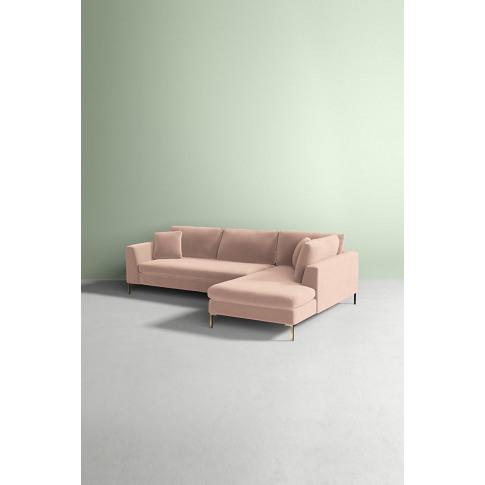 Velvet Edlyn Right Corner Sofa - White