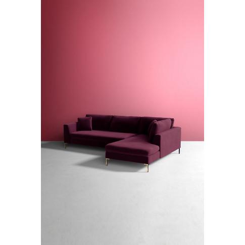 Velvet Edlyn Right Corner Sofa - Purple
