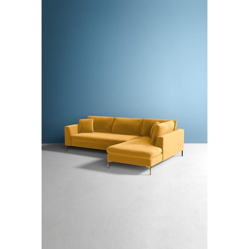 Velvet Edlyn Right Corner Sofa - Gold