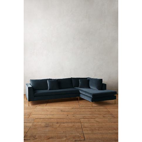 Velvet Edlyn Right Corner Sofa - Blue