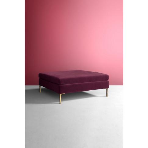 Edlyn Velvet Cocktail Ottoman - Purple