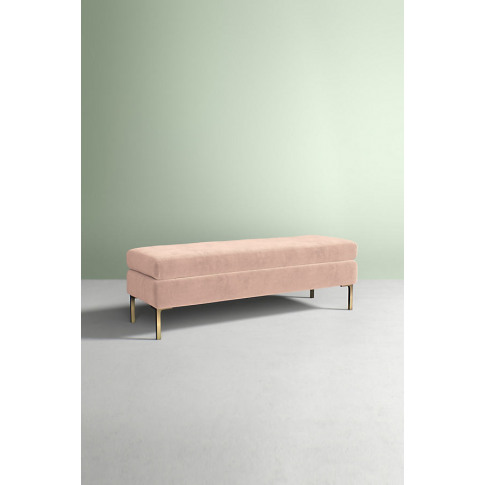 Edlyn Velvet Bench - White