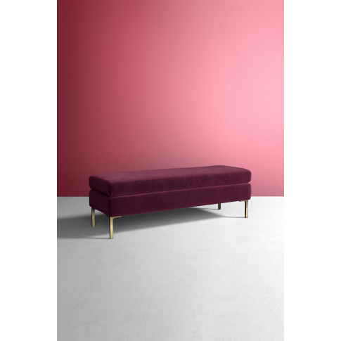 Edlyn Velvet Bench - Purple