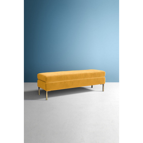 Edlyn Velvet Bench - Gold